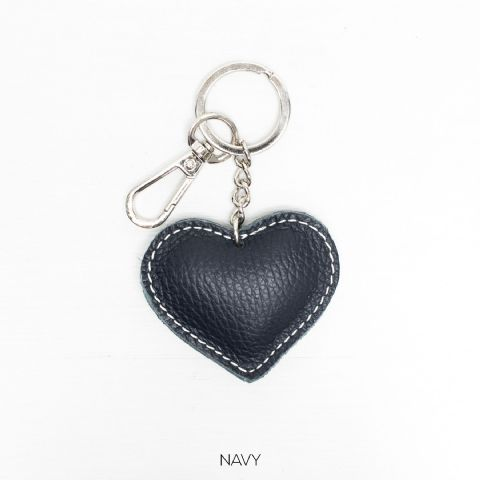 LEATHER HEART KEYRING NAVY